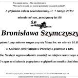 Ś.P. Bronisława Szymczyszyn 7.02.2015r Lwówek Śląski Pławna