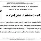 Ś.P. Krystyna Kułakowska 10.03.2015 Lwówek Śląski Pławna