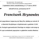 Ś.P. Franciszek Hrynowiecki 28.03.2015 Złotoryja, Sędzimirów