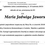 Ś.P. Maria Jadwiga Jaworska 25.04.2015 Lwówek Śląski