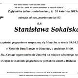 Ś.P. Stanisława Soklaska 26.04.2015 Złotroryja, Olszanica