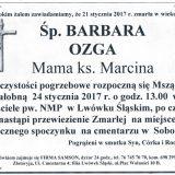 Ś.P. Barbara Ozga 21.01.2017r. Lwówek Śląski, Sobota