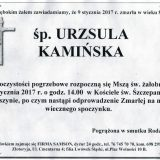 Ś.P. Urszula Kamińska 09.01.2017. Złotoryja, Wojcieszyn