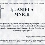 Ś.P. Aniela Mnich 12.01.2017. Złotoryja, Wojcieszyn