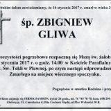 Ś.P. Zbigniew Gliwa 14.01.2017r.  Lwówek Śląski, Pławna