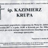 Ś.P. Kazimierz Krupa 15.01.2017r. Złotoryja