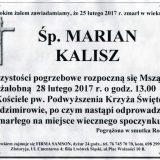 Ś.P. Marian Kalisz 25.02.2017. Złotoryja, Sędzimirów