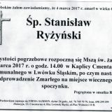Ś.P. Stanisław Ryżyński 04.03.2017r. Lwówek Śląski