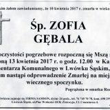 Ś.P. Zofia Gębala 10.04.2017r. Lwówek Śląski