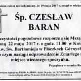 Ś.P. Czesław Baran 19.05.2017r. Lwówek Śląski, Płóczki Górne
