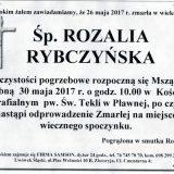 Ś.P. Rozalia Rybczyńska 26.05.2017r. Lwówek Śląski, Pławna
