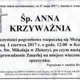 Ś.P. Anna Krzyważnia 27.05.2017r. Złotoryja