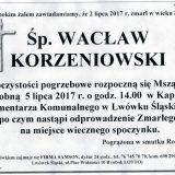 Ś.P. Wacław Korzeniowski 02.07.2017r. Lwówek Śląski
