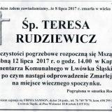 Ś.P. Teresa Rudziewicz 08.07.2017r. Lwówek Śląski