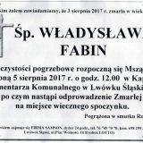 Ś.P. Władysława Fabin 03.08.2017r. Lwówek Śląski