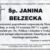 Ś.P. Janina Bełzecka 09.09.2017r. Lwówek Śląski, Golejów