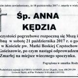 Ś.P. Anna Kędzia 18.10.2017r. Lwówek Śląski, Gościszów