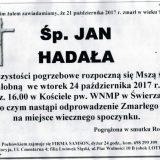 Ś.P. Jan Hadała 21.10.2017r. Złotoryja, Świerzawa