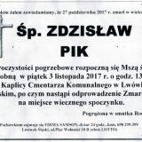 Ś.P. Zdzisław Pik 27.10.2017r. Lwówek Śląski