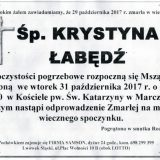 Ś.P. Krystyna Łabędź 29.10.2017r. Lwówek Śląski, Marczów