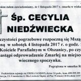 Ś.P. Cecylia Niedźwiecka 01.11.2017r. Złotoryja, Olszanica