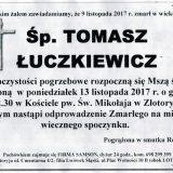 Ś.P. Tomasz Łuczkiewicz 09.11.2017r. Złotoryja