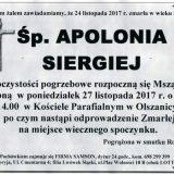 Ś.P. Apolonia Siergiej 23.11.2017r. Złotoryja, Olszanica