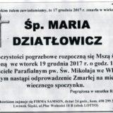 Ś.P. Maria Dziatłowicz 17.12.2017r. Lwówek Śląski