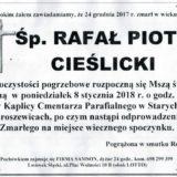 Ś.P. Rafał Piotr Cieślicki 24.12.2017r. Lwówek Śląski, Stare Jaroszewice