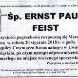 Ś.P. Ernst Paul Feist 23.12.2017r. Lwówek Śląski