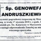 Ś.P. Genowefa Andruszkiewicz 14.01.2018r. Lwówek Śląski, Marczów