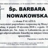 Ś.P. Barbara Nowakowska 16.01.2018r. Lwówek Śląski, Lubomierz