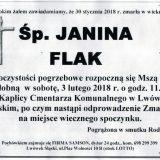 Ś.P. Janina Flak 30.01.2018r. Lwówek Śląski
