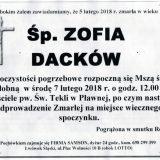 Ś.P. Zofia Dacków 05.02.2018r. Lwówek Śląski, Pławna