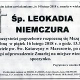Ś.P. Leokadia Niemczura 14.02.2018r. Lwówek Śląski, Marczów