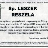 Ś.P. Leszek Reszela 11.02.2018r. Lwówek Śląski