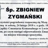 Ś.P. Zbigniew Zygmański 20.02.2018r. Lwówek Śląski