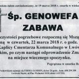 Ś.P. Genowefa Zabawa 19.03.2018r. Lwówek Śląski