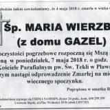 Ś.P. Maria Wierzba 04.05.2018r. Lwówek Śląski, Pławna