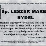 Ś.P. Leszek Marek Rydel 19.05.2018r. Lwówek Śląski, Płóczki Górne