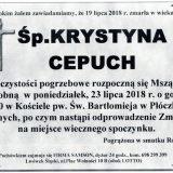 Ś.P. Krystyna Cepuch 19.07.2018 r.  Lwówek Śląski – Płóczki Górne