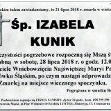 Ś.P. Izabela Kunik, 21.07.2018 r. Lwówek Śląski