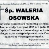 Ś.P. Waleria Osowska, 29.07.2018 r. Lwówek Śląski