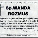 Ś.P. Wanda Rozmus, 31.07.2018 r. Lwówek Śląski
