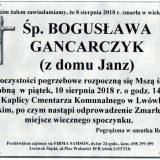 Ś.P. Bogusława Gancarczyk, 08.08.2018 r. Lwówek Śląski