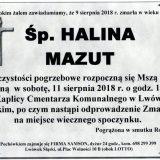 Ś.P. Halina Mazut, 09.08.2018 r. Lwówek Śląski