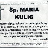 Ś.P. Maria Kulig, 21.08.2018 r. Lwówek Śląski