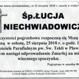 Ś.P. Łucja Niechwiadowicz 22.08.2018r. Lwówek Śląski – Pławna