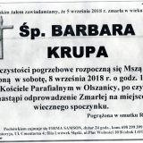 Ś.P. Barbara Krupa 05.09.2018 Złotroryja – Olszanica
