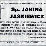 Ś.P. Janina Jaśkiewicz 8.11.2018 r. Lwówek Śląski – Marczów